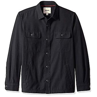 Goodthreads Men's Military Broken Twill Shirt Jacket, -black, XXX-Large