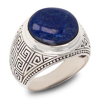 ADEN Antique effect 925 Sterling Silver Lapis Lazuli Biker Ring (id 4233)