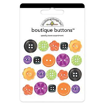 Doodlebug Design Spooky Town Boutique -painikkeet (20kpl) (2466)