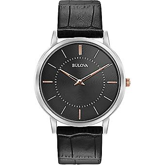 Bulova Watches 98a167 Classic Rose Gold, Silver & Black Leather Men's Watch