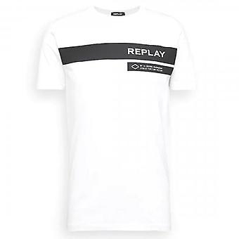 Replay Logo Print T-shirt Wit M3156