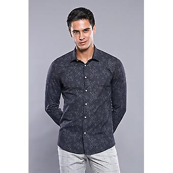Män's svarta skjorta med blommönster | wessi