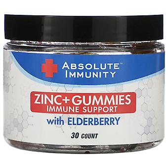 Absolute Nutrition, Immunity, Zinc + Gummies with Elderberry, 30 Count