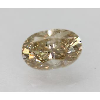 Cert 1.00 Carat Jaune Jaune Brun NOIR2 Ovale Amélioré Diamant Naturel 7.31x4.83mm