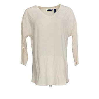 Isaac Mizrahi Live! Women's Top 3/4 Sleeve w/ V-Neck White