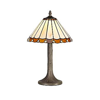 1 Light Tree Like Table Lamp E27 With 30cm Tiffany Shade, Amber, Crystal, Aged Antique Brass