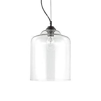 Ideale Lux Bistro' - 1 Light Dome Deckenanhänger schwarz klar geblasen Glas Platz, E27