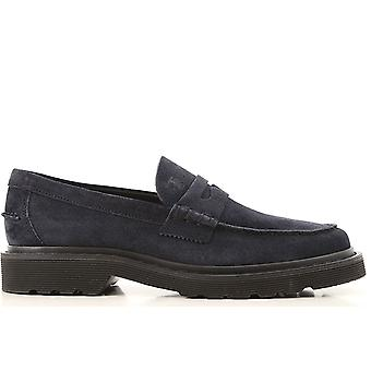 Tod's Ezcr072002 Men's Blue Suede Loafers