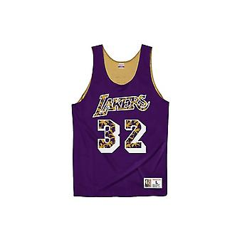 Mitchell & Ness Reversible Mesh Tank Lakers 92 Magic Johnson MSRVMI19003LALPRGD92EJH basquete todo o ano masculino t-shirt