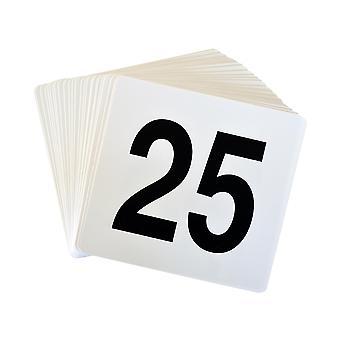 Argon Tafelwerk Tafelnummer Plastic Kaart Set 1-25. Dubbelzijdig