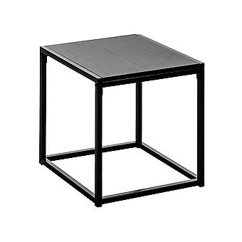 Contemporary Industrial Side Table - Black Wood / Steel Frame - 45 x 45 x 46cm