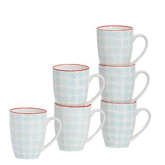 Nicola Spring 6 Piece Hand-Printed Tea and Coffee Mug Set - Japanese Style Porcelain Latte Mugs - Turquoise - 360ml