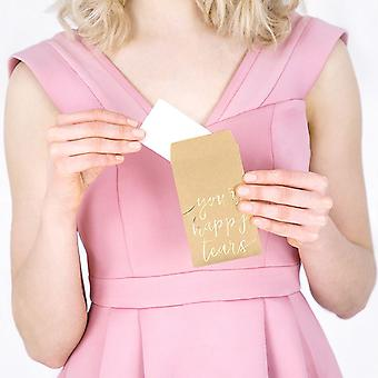 Wedding Pocket Tissues - Your Happy Tears in Gold 10 Packs of 3 Tissues