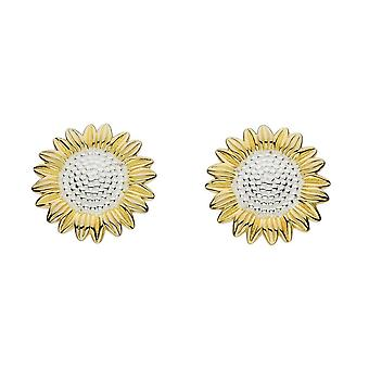 Dew Sterling Silver Sunflower With Gold Plate Stud Earrings 4085GD024