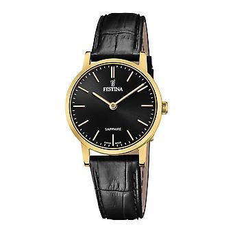 Festina Swiss F20017-3 Women's Gold Tone Case Black Dial Wristwatch
