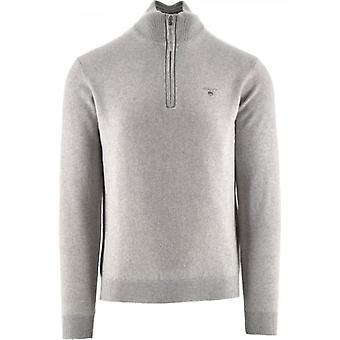 GANT Superfine Lambswool Half Zip Light Grey Sweatshirt