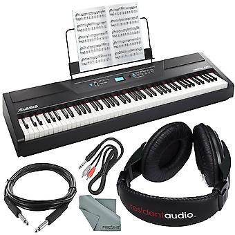 Alesis recital pro 88-key digital piano w/ hammer-action keys bundle with headphones + cables + fibertique cloth