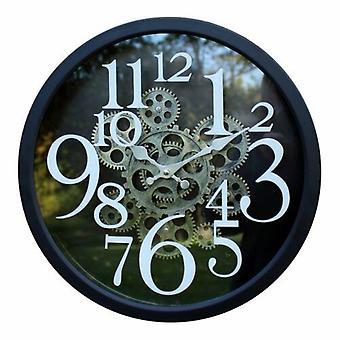 Negro metal ornamental engranaje móvil novedad estilo pared colgante reloj 38cm