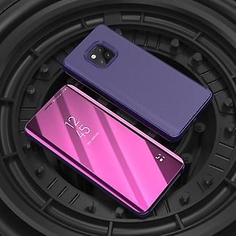 Mirror Clear View Horizontal Flip PU Smart Leather Case pour Huawei Mate 20 Pro, avec Holder (Violet)