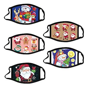 5pcs Christmas Mask For Kids Christmas Printed Face Masks