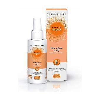 Vogliadisole Respekt - Solmelk Spray Fuktighetsgivende Fløyelsmykt Medium Beskyttelse SPF 15 100 ml