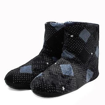 Pánské ležérní teplé zimní měkké bavlněné domácí pantofle boty.
