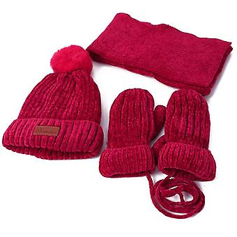 Chapeaux Foulard Gants Ensemble, Mitaine chaude d'hiver, Casquette tricotée Pompon, Automne, Hiver