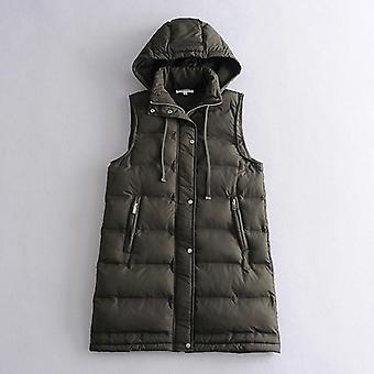 Vest Coats, Zipper Hooded Down Cotton Jacket/parkas Female Warm Thick Big