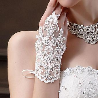 High Quality Fingerless Short Elegant Rhinestone Bridal Wedding Gloves