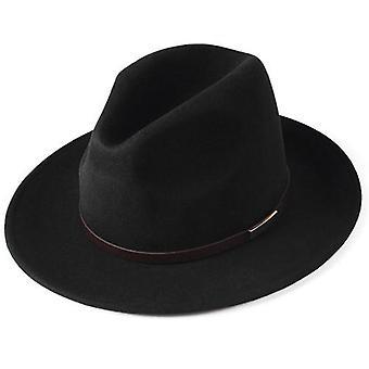 100٪ الاسترالية الصوف فيدورا قبعة، خمر واسعة بريم الجاز قبعة زوجين