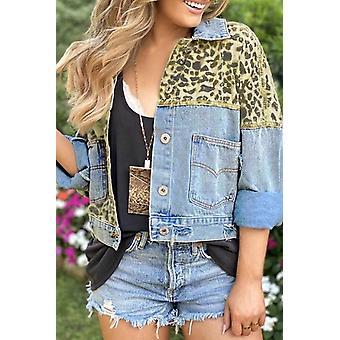 Leopard spájanie orezané džínsové sako s vreckom