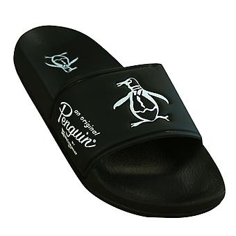 Penguin Slip On Black Synthetic Mens Slider Flip Flops PEN0090 842 Y31A Y31B