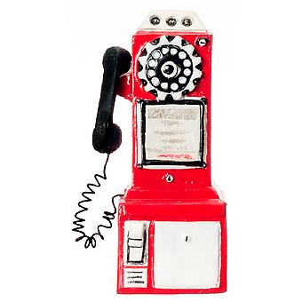 Puppen Haus Miniatur Telefon Box Shop Cafe Zubehör 1950 's Bezahltelefon in rot