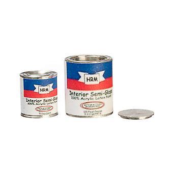 Dolls House Paint Can Tin Zestaw 2 Miniaturowe narzędzie robocze Diy Shop Akcesoria 1:12