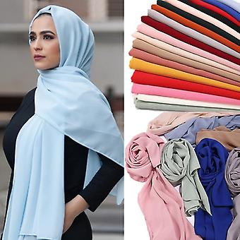 Solid Chiffon Headscarf Ready To Wear Instant Hijab Scarf Muslim Shawl Islamic