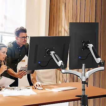 HUANUO Aluminum Dual Monitor Mount Height Adjustable,Rotatable for 13 to 27 inch LED LCD Screens