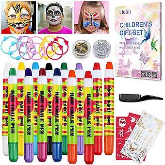 Lictin face paint hair chalk pens kit - 8 colors washable face paint set 6 hair colour pens, tempora
