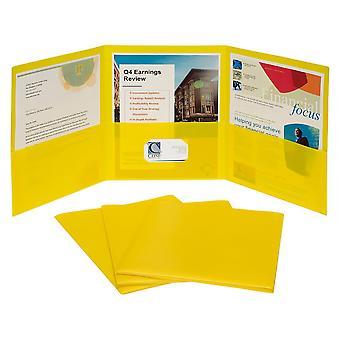 3-Pocket Poly Portfolio, Yellow, Box Of 24