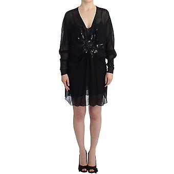 Black long sleeve silk dress