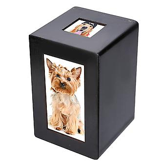 Mayitr negro madera mascota urna caja