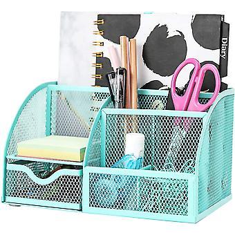 Exerz Desk Organiser/Mesh Desk Tidy/Pen Holder/Multifunctional Organizer (EX348 Turquoise)