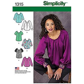 シンプルな縫製パターン1315ミスプルオーバーブラウススリーブとトリムバリエーションサイズ6-14