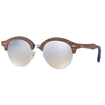 Ray-Ban Clubround Wood Brown Sunglasses RB4246M-12179U-51