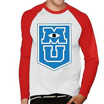 ピクサーモンスターズ大学M Uボーダーロゴメン&アポス;s野球ロングスリーブTシャツ