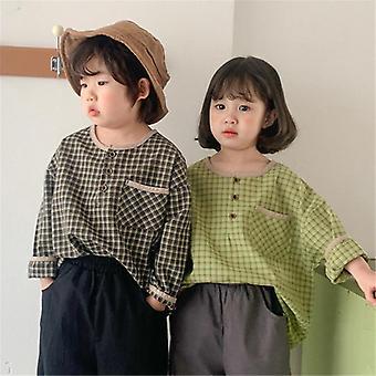 Lasten vapaa-ajan ruudullinen paita, ja puuvilla löysä pitkähihaiset toppivaatteet