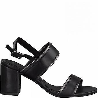 Svart kam elegant mellersta häl sandaler