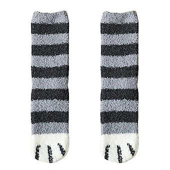 Kış Sonbahar Çorap Kadınlar Kawaii Kedi Pençeleri Sıcak Kalın mercan polar kalın