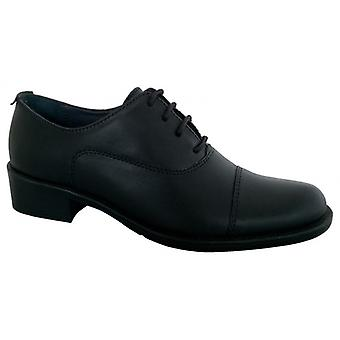 Grafters L092a Ladies Low Heeled Brogue Shoes Black