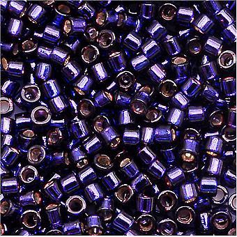 Бусины Miyuki Delica, размер 11/0, 7.2 Граммы, темно-фиолетовый DB609 с серебряной подкладкой