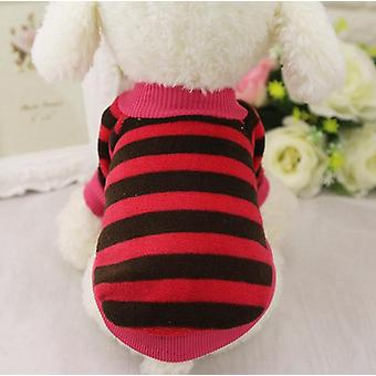 Dog cat clothes autumn and winter striped love little flower coral velvet
